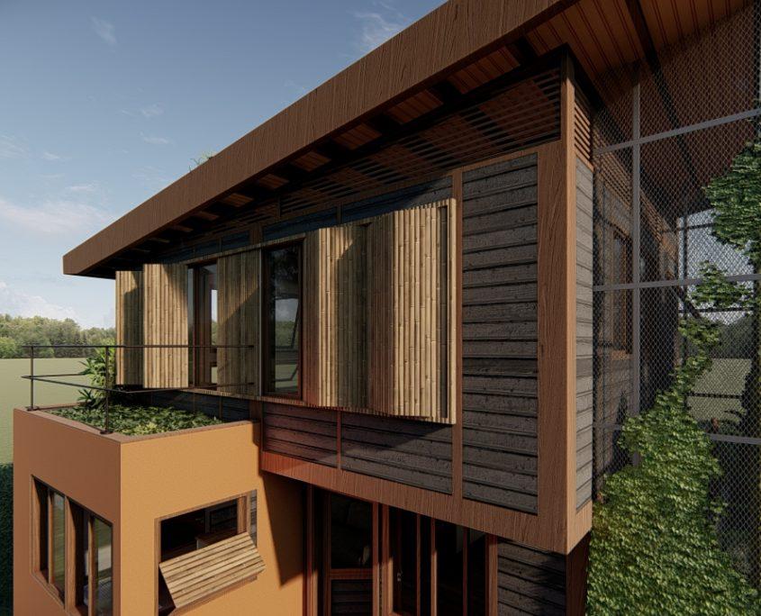 janelas pantográficas se abrem para a varanda do quarto